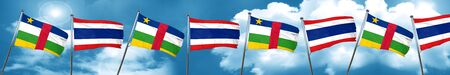 Central african republic flag with Thailand flag, 3D rendering