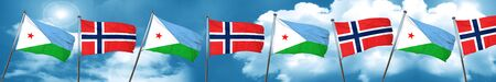 norway flag: Djibouti flag with Norway flag, 3D rendering