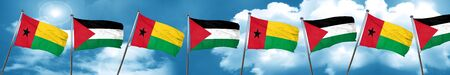 Guinea bissau flag with Palestine flag, 3D rendering