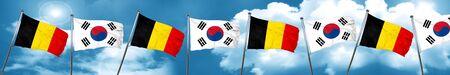bandera de Bélgica con la bandera de Corea del Sur, 3D