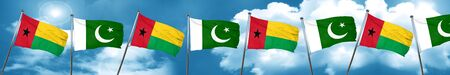 Guinea bissau flag with Pakistan flag, 3D rendering