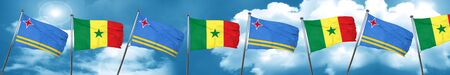 aruba flag with Senegal flag, 3D rendering