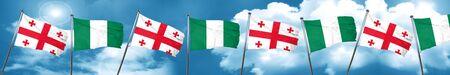 georgian: Georgia flag with Nigeria flag, 3D rendering Stock Photo
