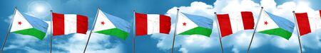 bandera de peru: Djibouti flag with Peru flag, 3D rendering