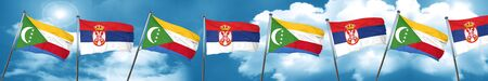 Comoros flag with Serbia flag, 3D rendering