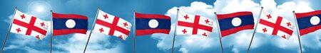 Georgia flag with Laos flag, 3D rendering Stock Photo