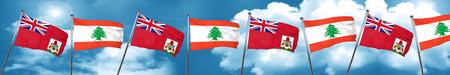 lebanon: bermuda flag with Lebanon flag, 3D rendering