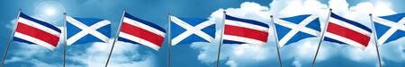 Costa Rica flag with Scotland flag, 3D rendering