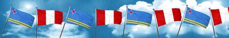 bandera de peru: aruba flag with Peru flag, 3D rendering