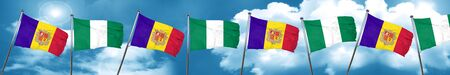 country nigeria: Andorra flag with Nigeria flag, 3D rendering