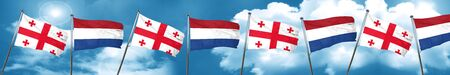 Georgia flag with Netherlands flag, 3D rendering