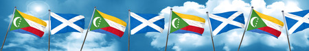 Comoros flag with Scotland flag, 3D rendering