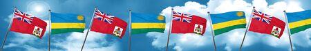 bermuda flag with rwanda flag, 3D rendering Stock Photo