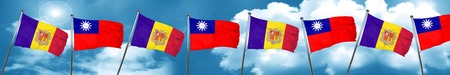 Andorra flag with Taiwan flag, 3D rendering