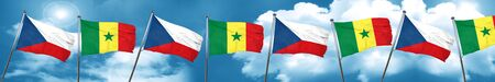 czechoslovakia flag with Senegal flag, 3D rendering Stock Photo