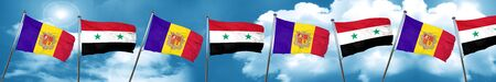 Andorra flag with Syria flag, 3D rendering