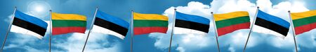 lithuania: estonia flag with Lithuania flag, 3D rendering
