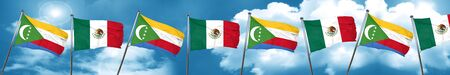 Comoros flag with Mexico flag, 3D rendering