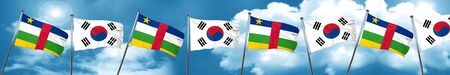 Central african republic flag with South Korea flag, 3D rendering