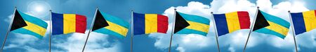 Bahamas flag with Romania flag, 3D rendering
