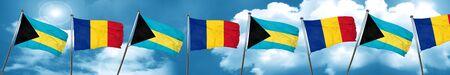 combines: bandera de Bahamas con bandera de Rumania, 3D