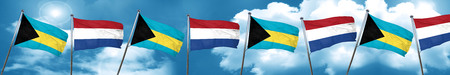 Bahamas flag with Netherlands flag, 3D rendering