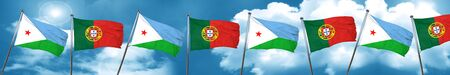 djibouti: Djibouti flag with Portugal flag, 3D rendering