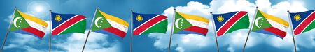 Comoros flag with Namibia flag, 3D rendering Stock Photo