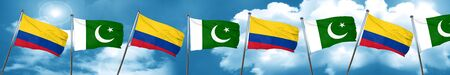 flag of pakistan: Colombia flag with Pakistan flag, 3D rendering