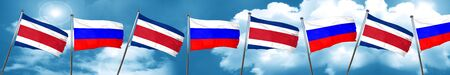Costa Rica flag with Russia flag, 3D rendering Stock Photo