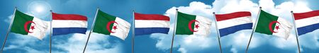 algeria flag with Netherlands flag, 3D rendering