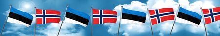 norway flag: estonia flag with Norway flag, 3D rendering