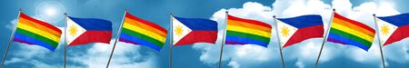 Gay pride flag with Philippines flag, 3D rendering Stock Photo