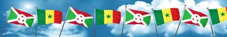 burundi: Burundi flag with Senegal flag, 3D rendering Stock Photo