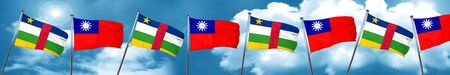 Central african republic flag with Taiwan flag, 3D rendering