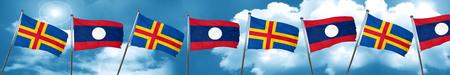 combines: aland islands with Laos flag, 3D rendering Foto de archivo