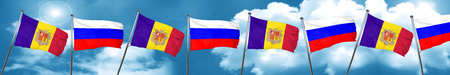 Andorra flag with Russia flag, 3D rendering