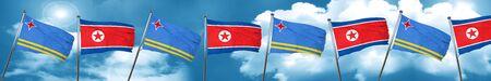 Bandera de Aruba con la bandera de Corea del Norte, 3D