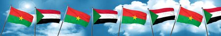 Burkina Faso flag with Sudan flag, 3D rendering