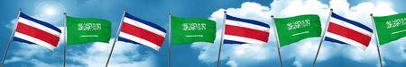 Costa Rica flag with Saudi Arabia flag, 3D rendering Stock Photo