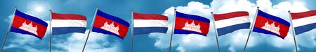 Cambodia flag with Netherlands flag, 3D rendering