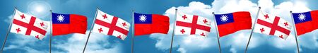 georgia: Georgia flag with Taiwan flag, 3D rendering