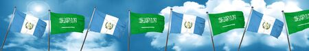 bandera de guatemala: guatemala flag with Saudi Arabia flag, 3D rendering