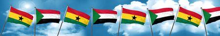 ghanese: Ghana flag with Sudan flag, 3D rendering Stock Photo