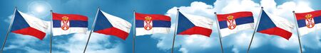 czechoslovakia flag with Serbia flag, 3D rendering