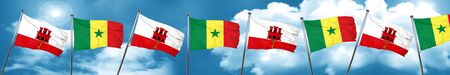gibraltar flag with Senegal flag, 3D rendering