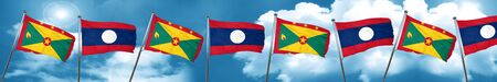 Grenada flag with Laos flag, 3D rendering