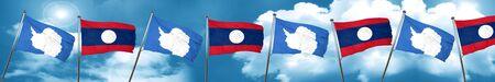 antarctica: antarctica flag with Laos flag, 3D rendering