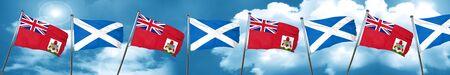 combines: Bandera de bermudas con la bandera de Escocia, representación 3D Foto de archivo