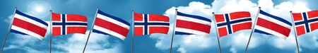 Costa Rica flag with Norway flag, 3D rendering Stock Photo